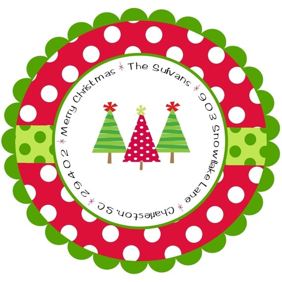 Colored Address Labels Christmas Address Labels