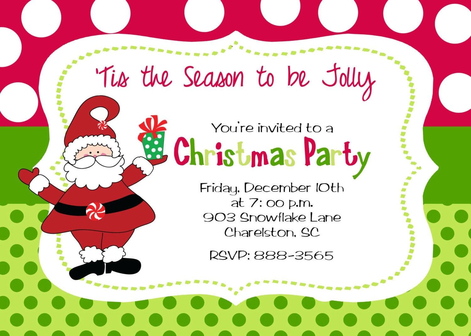 Christmas Party Invitation by stickerchic on Etsy: https://www.etsy.com/listing/86455648/christmas-party-invitation