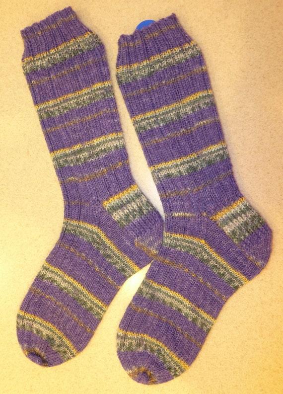 Hand Knit Mens or Womens Wool Socks - Opal sock yarn - Purple (O-064)