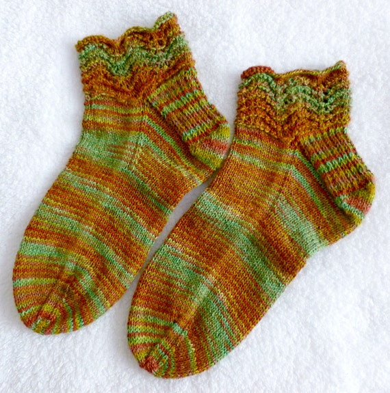 Hand Knit Bamboo/Cotton Blend Womens Ankle Socks - Hand Dyed Yarn from New Mexico