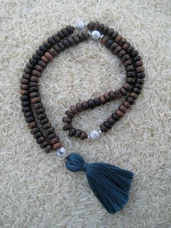 108 Ebony Wood Mala with Howlite & Sterling Silver Markers