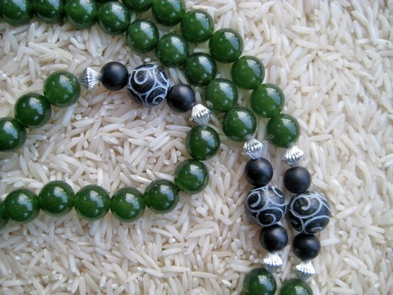 108 Green Jade Mala with Black Onyx & Carved Tibetan Agate Markers