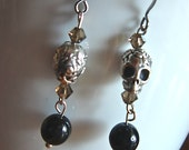 Obsidian Silver skull Earrings