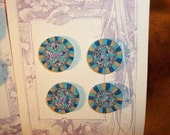 "Polymer Buttons set of 8 Blue, turquoise, gold, black, white 3/4 "" round"