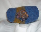 """Wool Up-Cycled Felted Pouch with 7 """" wide 5"""" tall magnetic snap closure and Crochet Flower"""