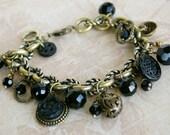 Vintage Button Bracelet, jet black glass buttons, charm bracelet