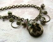Textile Necklace, Charm Style Necklace, cut velvet and vintage millinery, Statement Necklace, button jewelry
