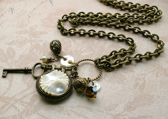Long and Lovely Collection Necklace, vintage button jewelry, OOAK, vintage mother-of-pearl buttons, key and findings