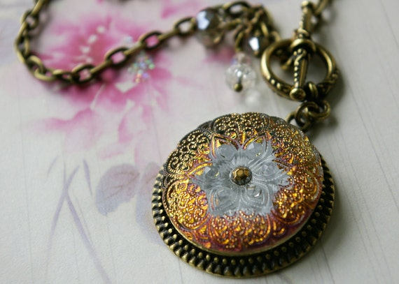 Lace Pattern, Art Glass Necklace, Button Jewelry, Iridescent, Golden Pink, Glass Button Jewelry, Toggle Necklace