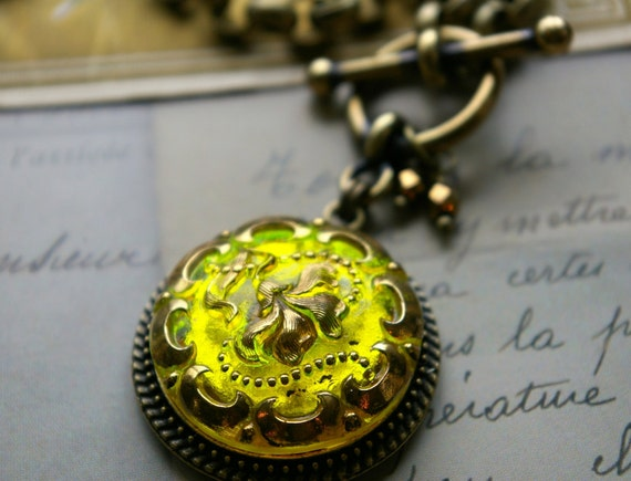 Czech Glass Necklace, Spectacular brilliant Lemon Yellow and gold, contemporary styling, vintage inspired, button jewelry by veryDonna