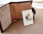 Playing Cards, Vintage Bridge, Brown Leather Case, Bird Duck Hunting Theme