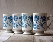 Mid Century Pedestal  Mugs - Blue Flower Pattern Very Attractive and Sturdy