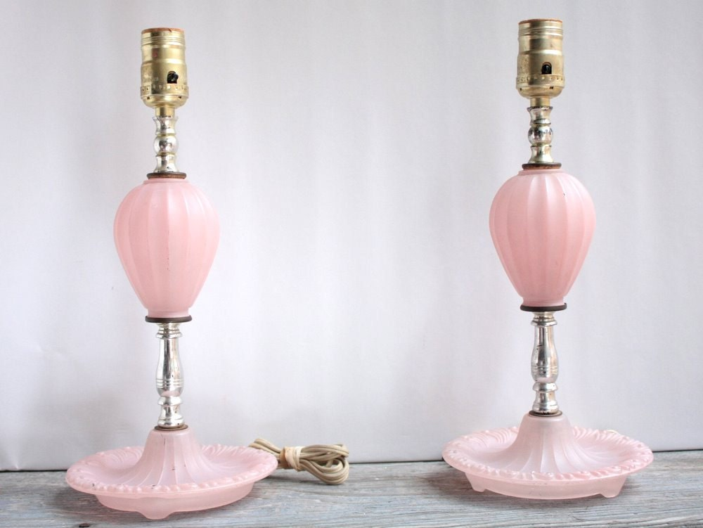 Boudoir Glass Table Lamps Vintage Lighting Shabby Chic Pale