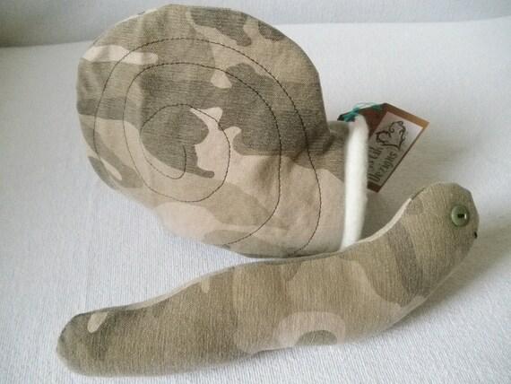 Camo Snail / Slug with removable Shell Plushie Toy