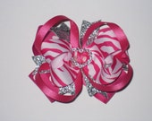 Hot pink and silver Boutique Style Bow