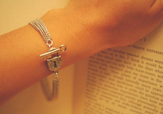 Silver Lock and Key Bracelet