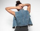 Vintage Denim Zip-Up Vest