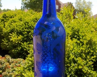 Recycled/ repurposed cobalt blue wine bottle lantern etched with Koi fish