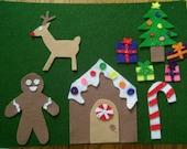 Christmas themed felt board play pieces
