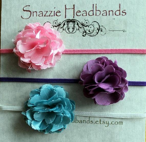 baby headband, baby girl headband,- set of 3 newborn headband,black headband,