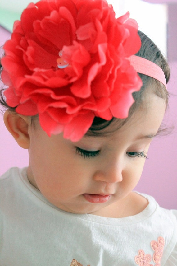 Big flower headband..toddler headband...girl headband..baby girl headband- spring headband- photography props, birthday props
