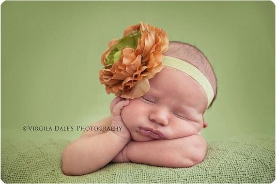 big bow headband..big bow..green and orange headband..newborn headband..girl headband, toddler headband..photography prop,birthday prop