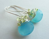 Carribean Blue Chalcedony Sterling Silver Wire Wrapped with Green Peridot Rondelles, Gift for her, Gifts under 25 dollars