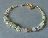 Opal Bracelet, Ethiopian Fire Opals, Gold Filled Spacers and Toggle Clasp
