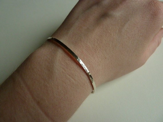 Sterling Silver Cuff Bracelets, Hammered, hand forged, organic, modern, simple