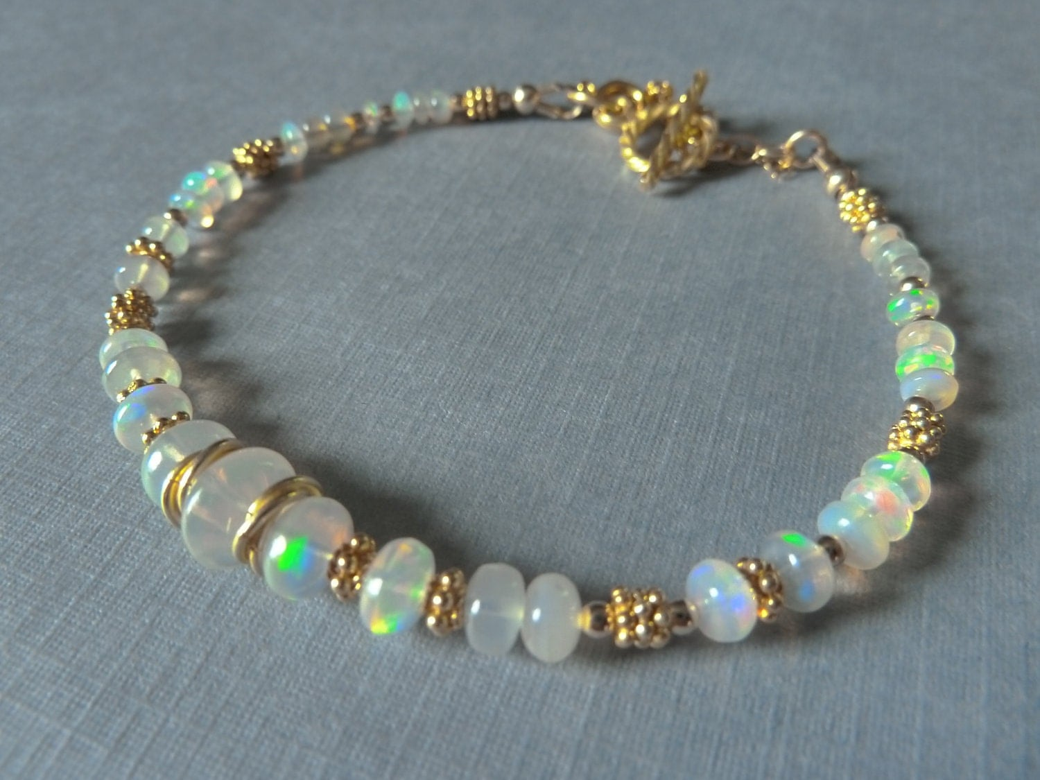 opal bracelet opals gold filled spacers and