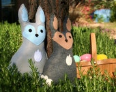 Forest Critter- Easter Bunny with Easter Eggs- Eco Friendly- Woodland Animal - Easter Rabbit