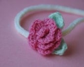 Knit/Crocheted Newborn, Baby, Toddler Headband with Rosette