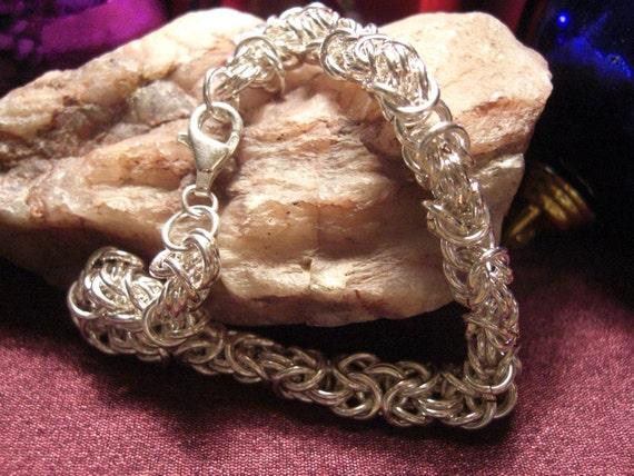 Sterling Silver filled Byzantine Chain Maille Bracelet