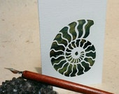 Ammonite die-cut batik fabric greeting card (blank inside)