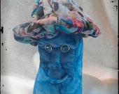 Hawaii - A Blue Colorful Shroomy, Stuffed Toy, Stuffed Sculpted Toy, Stuffed Mushroom