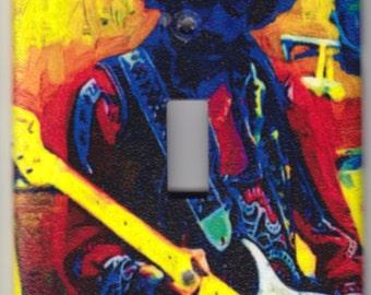 Jimi Hendrix Playing Guitar Switchplate Cover - Single Jumbo size (327)
