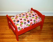 TinyMutts Pet Bed Red Frame with Pink Robert Kaufman Sweet Tooth Cupcakes
