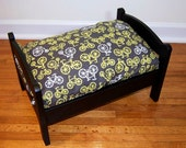 TinyMutts Pet Bed Flat Black Frame with Grey Michael Miller Citron Bicycles