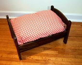 TinyMutts Pet Bed Stained Wood Frame with Grey Michael Miller Prom and Amy Butler Lotus Full Moon