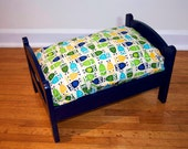 TinyMutts Pet Bed Navy Blue Frame with Ivory Robert Kaufman Urban Zoologie Owls