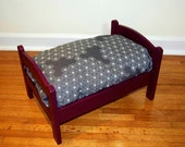 TinyMutts Pet Bed Aubergine Frame with Grey/White Blossom Flower Print