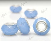 5pcs Crystal Rondelle European beads With Grommets Air Blue Opal 14x14mm CR0344
