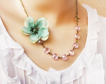 sakura flower necklace, sea foam necklace, Asymetrical Aqua Necklace