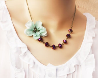 cherry blossom necklace, Asymmetrical Necklace,  Bridesmaid Gifts, holiday gift