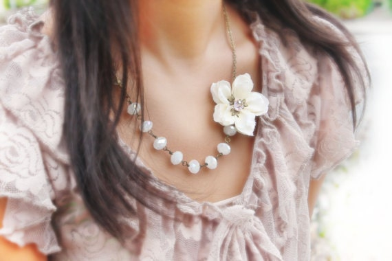 bridesmaid necklace, bridal jewelry, bridal accessories, flower necklace, asymmetrical necklace, cherry blossom necklace