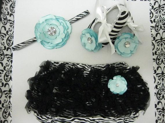 Baby girls zebra print  crib shoes, zebra chiffon ruffle diaper cover, zebra bloomers, zebra flower headband,  baby shoe size 6 to 9 months