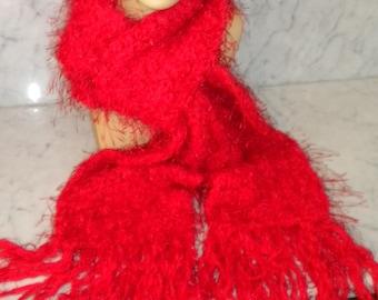 Eyelash-style Plush Fringe Scarf (Red)