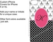 Personalized iPhone 4 or 4S Case (Hard or Flexible Plastic Case) Black Chandeliers