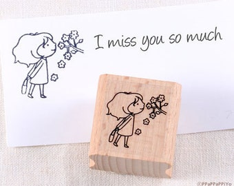 50% OFF SALE I miss you Rubber Stamp