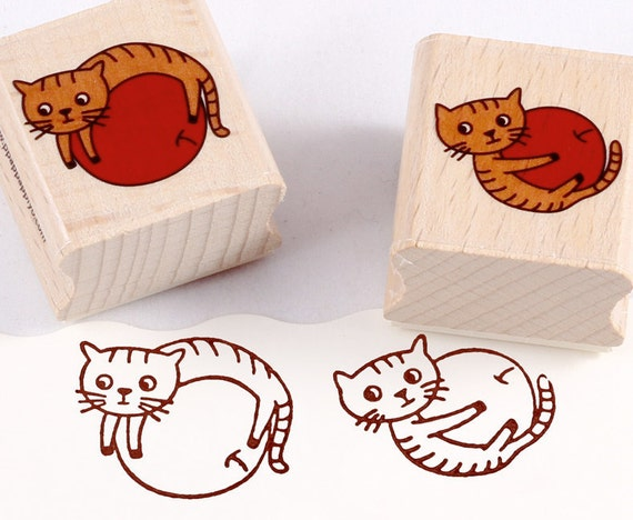 50% OFF SALE - cats with apples Rubber Stamps set